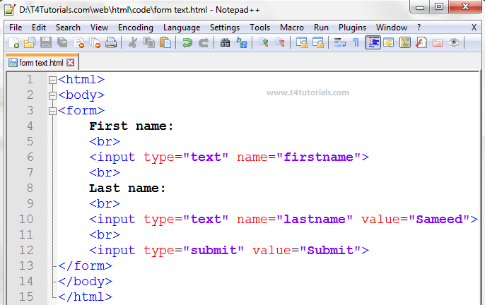 form text in html