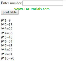 show table of a number in php