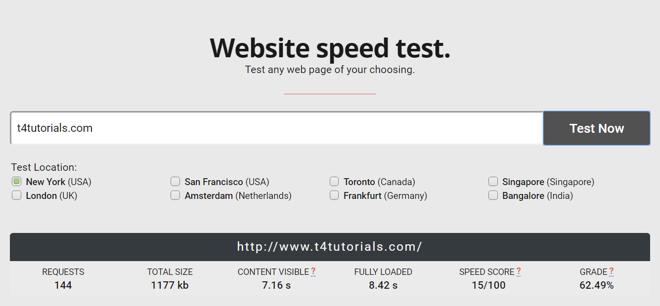 test website performance and speed with tool
