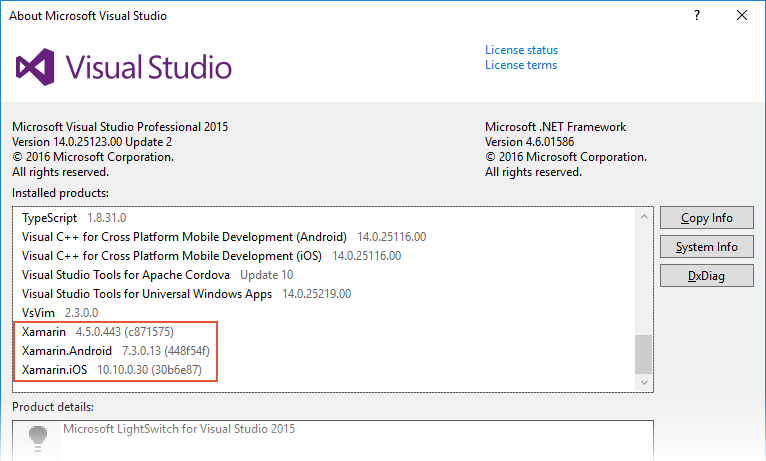 Visual Studio installed products screen