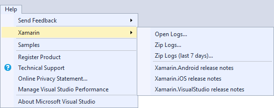 Xamarin menu item displayed on the Help menu