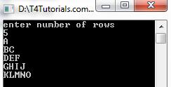 C++ and C Program to Print Alphabet Pattern with flowchart