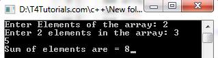 Sum of Array Elements, program in cplusplus cpp, c with flowchart