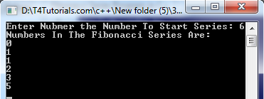 fibonacie series program in cpp, c